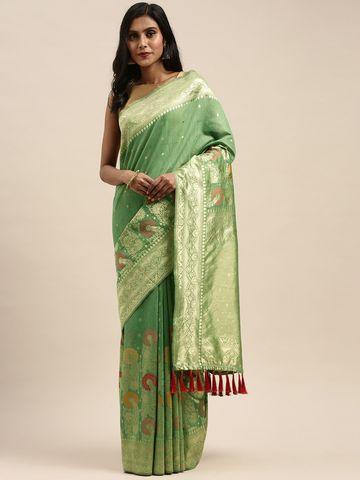 Vastranand | VASTRANAND  Green & Gold-Toned Cotton Blend Woven Design Banarasi Saree