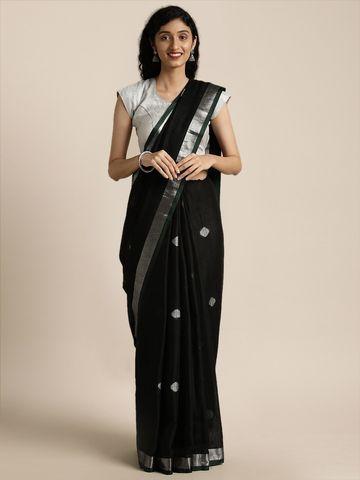 Vastranand | VASTRANAND  Black Linen Blend Woven Design Saree