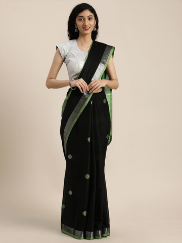 Vastranand   VASTRANAND  Black Linen Blend Woven Design Saree