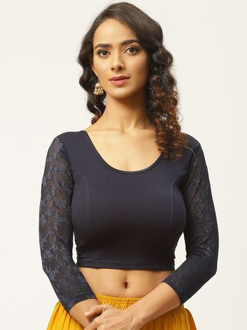 Vastranand | VASTRANAND Women Navy Blue Cotton Solid Stretchable Saree Blouse with Lace Detail