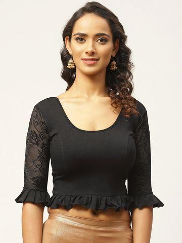 Vastranand | VASTRANAND Women Black Cotton Solid Stretchable Saree Blouse