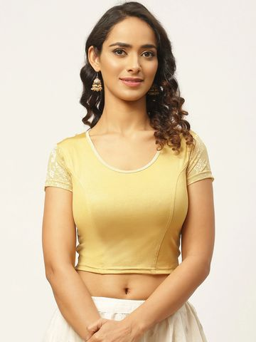 Vastranand | VASTRANAND Women Golden Solid Stretchable Styled Back Saree Blouse