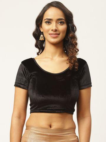 Vastranand | VASTRANAND Women Black Solid Velvet Finish Stretchable Saree Blouse