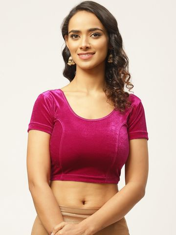 Vastranand | VASTRANAND Women Pink Solid Stretchable Velvet Saree Blouse