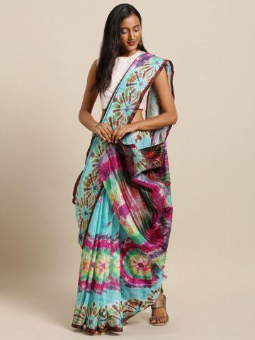 Vastranand | VASTRANAND  Turquoise Blue & Pink Linen Blend Dyed Ikat Saree