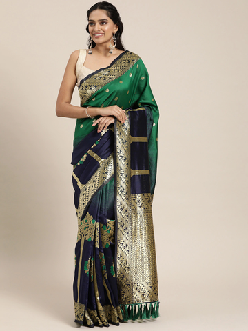 Vastranand | VASTRANAND  Blue & Gold-Toned Silk Blend Woven Design Banarasi Designer Saree