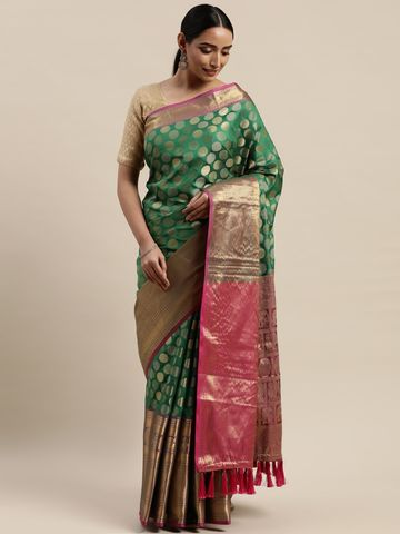 Vastranand | VASTRANAND Green & Gold-Toned Silk Blend Woven Design Banarasi Saree
