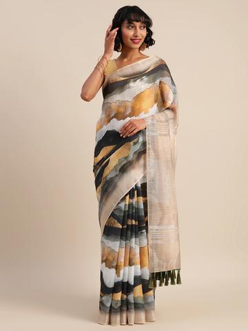 Vastranand   VASTRANAND  Beige & White Linen Blend Printed Banarasi Saree