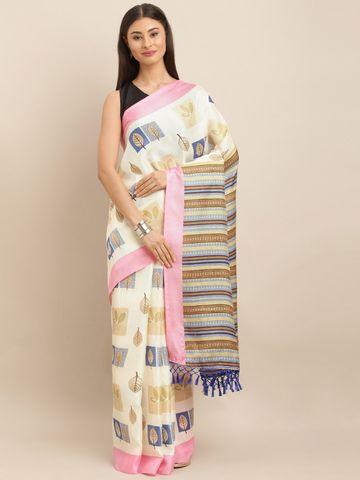 Vastranand | VASTRANAND  Off-White & Pink Jute Printed Saree