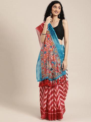 Vastranand | VASTRANAND  Red & White Linen Blend Printed Ikat Saree