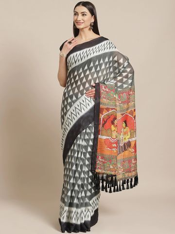 Vastranand | VASTRANAND  Grey & Black Geometric Printed Ikat Designer Saree
