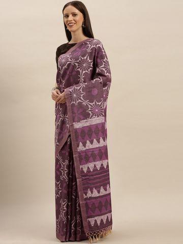 Vastranand | VASTRANAND  Burgundy & Purple Linen Blend Printed Bagru Saree