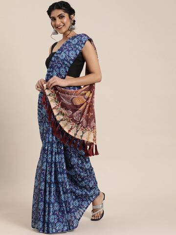 Vastranand | VASTRANAND  Blue & Burgundy Linen Blend Printed Bagru Celebrity Saree