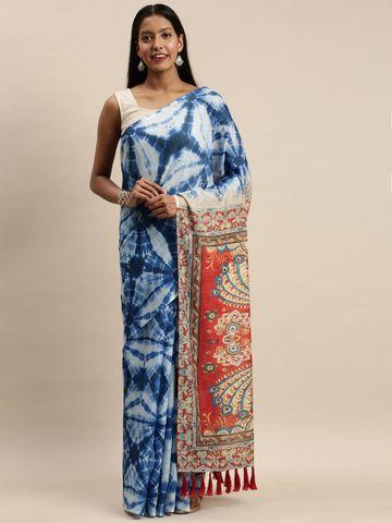 Vastranand | VASTRANAND Blue Linen Blend Blend Printed Bagru Saree