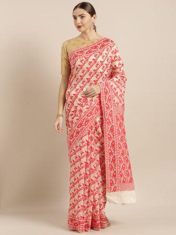Vastranand | VASTRANAND  Cream-Coloured & Red Cotton Blend Woven Design Jamdani Saree