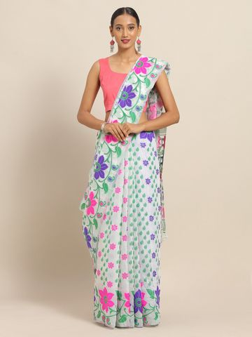 Vastranand | VASTRANAND White & Green Cotton Blend Woven Design Jamdani Saree