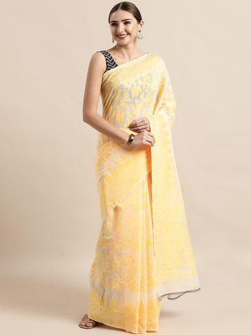 Vastranand | VASTRANAND  Cream-Coloured & Yellow Cotton Blend Woven Design Jamdani Saree