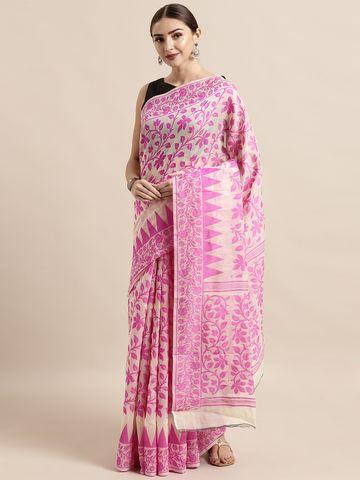Vastranand | VASTRANAND  Cream-Coloured & Pink Cotton Blend Woven Design Jamdani Saree