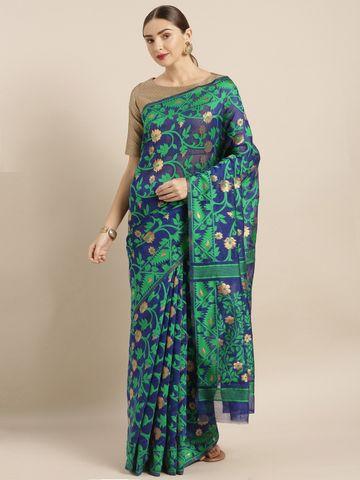 Vastranand | VASTRANAND  Navy Blue & Green Cotton Blend Woven Design Jamdani Saree
