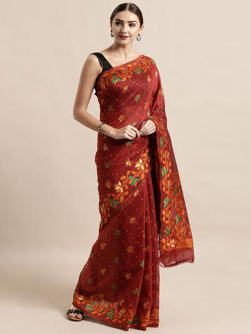 Vastranand | VASTRANAND  Maroon Cotton Blend Woven Design Jamdani Saree