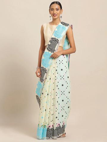 Vastranand | VASTRANAND White & Blue Cotton Blend Printed Jamdani Saree