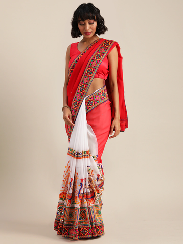 Vastranand | VASTRANAND  Red & White Georgette Embroidered Saree