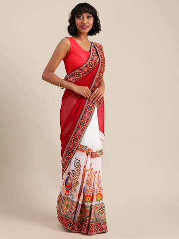 Vastranand | VASTRANAND  Brown & White Georgette Embroidered Saree