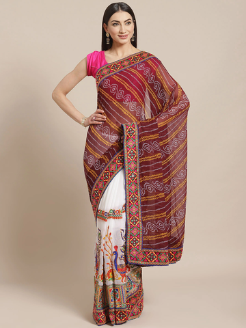 Vastranand | VASTRANAND  White & Brown Kutchi Embroidered Bandhani Saree