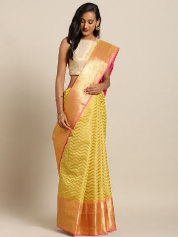 Vastranand | VASTRANAND  Yellow & Gold-Toned Silk Blend Woven Design Kanjeevaram Saree