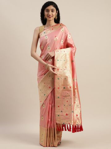 Vastranand | VASTRANAND  Peach-Coloured & Gold-Toned Silk Blend Woven Design Kanjeevaram Saree