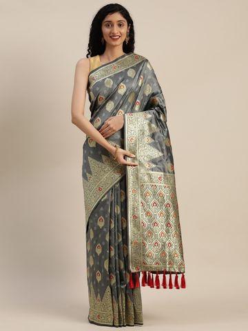 Vastranand | VASTRANAND  Grey & Gold-Toned Silk Blend Woven Design Kanjeevaram Saree