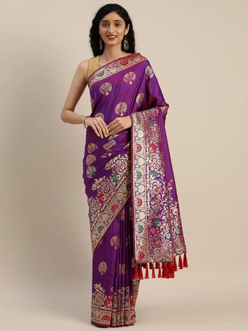 Vastranand | VASTRANAND  Purple & Golden Silk Blend Woven Design Kanjeevaram Saree