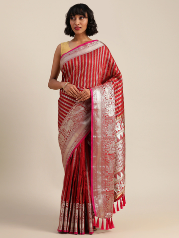 Vastranand | VASTRANAND  Red & Silver-Toned Silk Blend Embellished Banarasi Saree
