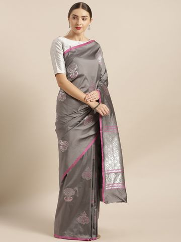 Vastranand | VASTRANAND  Grey Silk Blend Woven Design Banarasi Saree