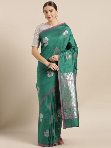 Vastranand | VASTRANAND  Green & Silver-Toned Silk Blend Woven Design Banarasi Saree