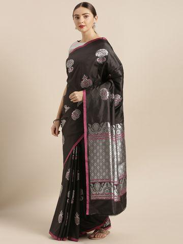 Vastranand | VASTRANAND  Black & Silver-Toned Silk Blend Woven Design Banarasi Saree