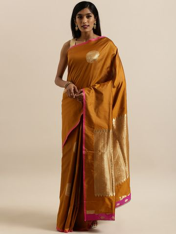 Vastranand | VASTRANAND  Black & Gold-Colored Silk Blend Woven Design Banarasi Saree