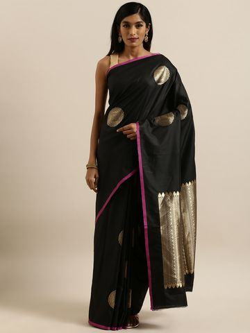 Vastranand | VASTRANAND  Mustard Yellow & Gold-Colored Silk Blend Woven Design Banarasi Saree