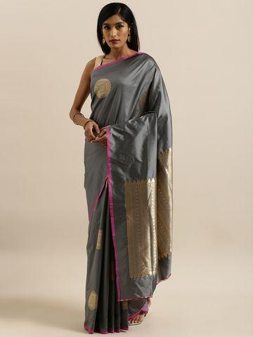 Vastranand | VASTRANAND  Grey & Gold-Toned Silk Blend Printed Banarasi Saree