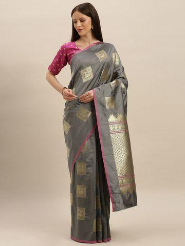 Vastranand | VASTRANAND  Grey & Gold-Toned Silk Blend Printed Kanjeevaram Saree