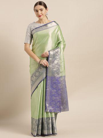 Vastranand | VASTRANAND  Green & Navy Blue Kora Muslin Silk Blend Woven Design Kanjeevaram Saree