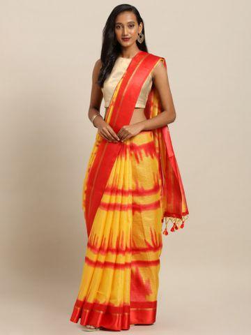 Vastranand | VASTRANAND  Yellow & Red Net Printed Kota Saree