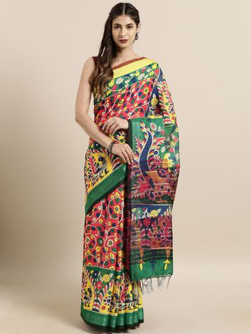 Vastranand | VASTRANAND  Red & Green Linen Blend kalamkari Printed Saree