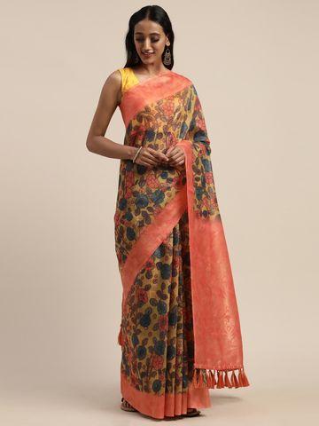 Vastranand | VASTRANAND  Peach-Coloured & Teal Blue Cotton Blend Printed Banarasi Saree
