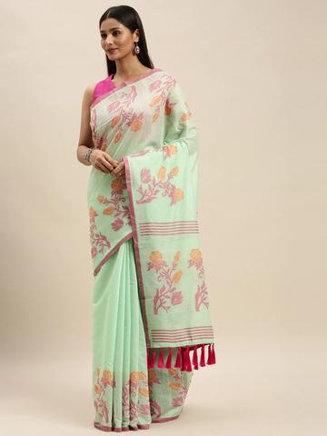 Vastranand | VASTRANAND Sea Green & Pink Linen Blend Woven Design Banarasi Saree
