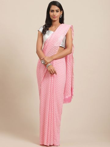 Vastranand | VASTRANAND Pink Woven Design Saree