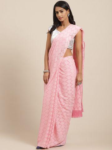 Vastranand | VASTRANAND Pink Jaali Handloom Woven Design Saree