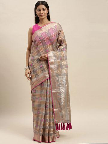 Vastranand   VASTRANAND Grey & Pink Organza Checked Kanjeevaram Saree