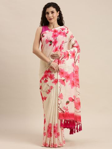 Vastranand | VASTRANAND  Off-White & Pink Linen Blend Floral Printed Saree