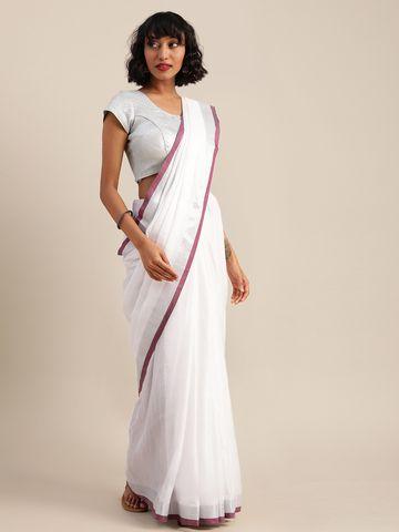 Vastranand   VASTRANAND  White & Burgundy Cotton Blend Solid Bhagalpuri Saree